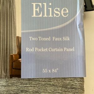 Elise Accents - Elise Two Tone Faux Silk Curtains. Set of two